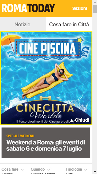 Masthead Mobile - RomaToday  Cinecittà World-2