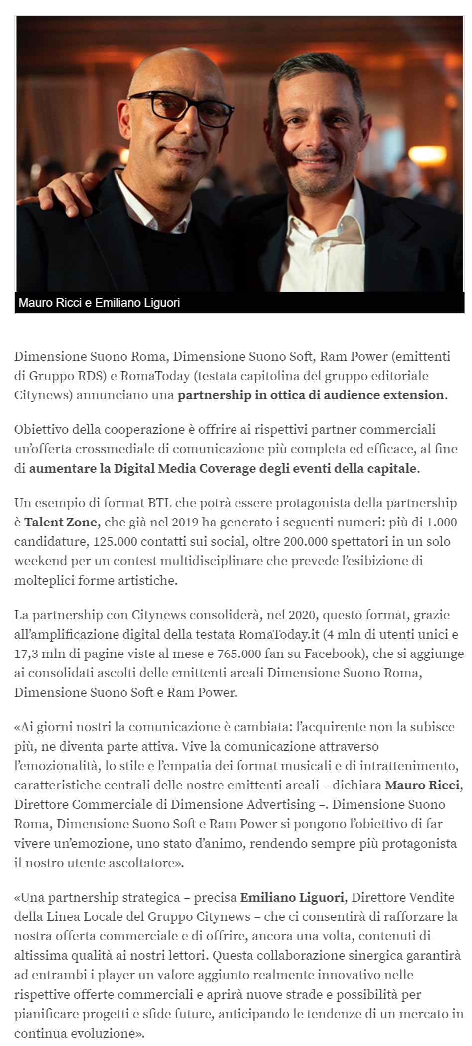 Dimensione Advertising e Gruppo Citynews, accordo di audience extension a Roma - Engage.it, 24 febbraio 2020-2