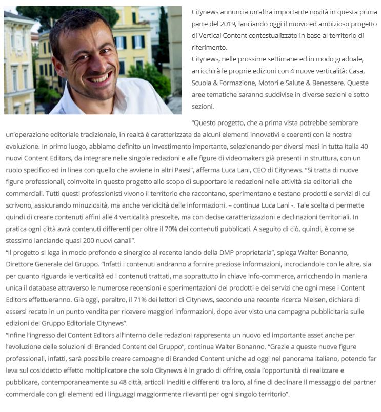 Al via il nuovo progetto Citynews quattro nuovi Vertical Content in tutte le edizioni del Gruppo - MediaKey, 3 Aprile 2019