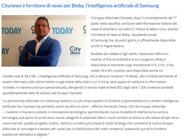 Citynews è fornitore di news per Bixby, l'intelligenza artificiale di Samsung - MediaKey, 12 marzo 2019-2