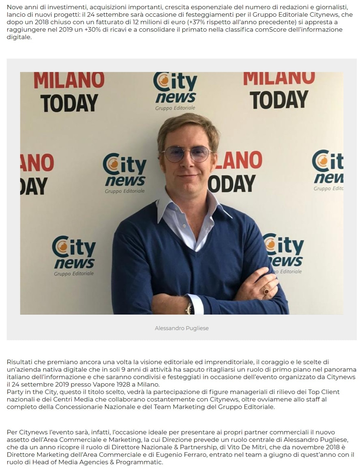 Citynews riorganizza l'Area Commerciale e Marketing - PrimaOnline, 17 settembre 2019-2