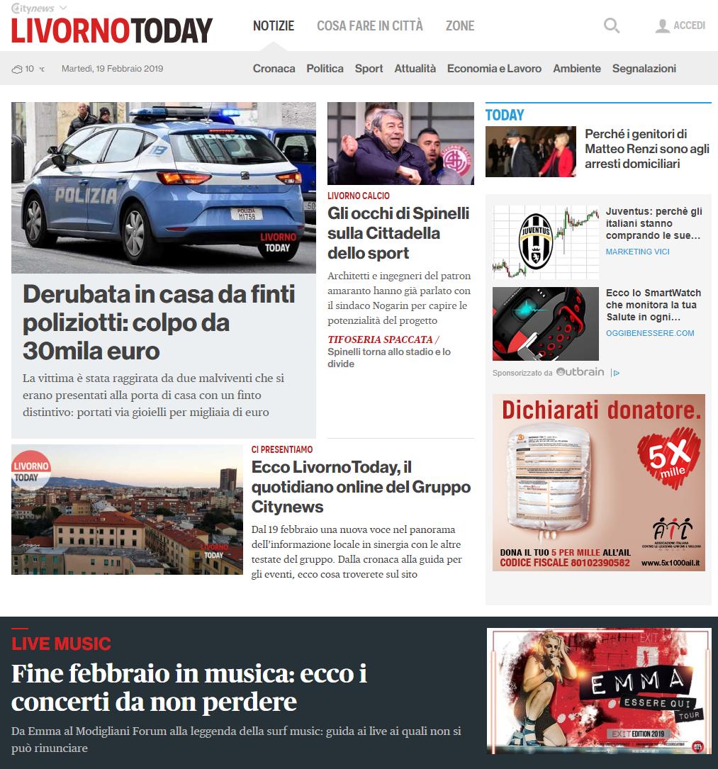 HomePage Desktop - LivornoToday - 19 febbraio 2019-3