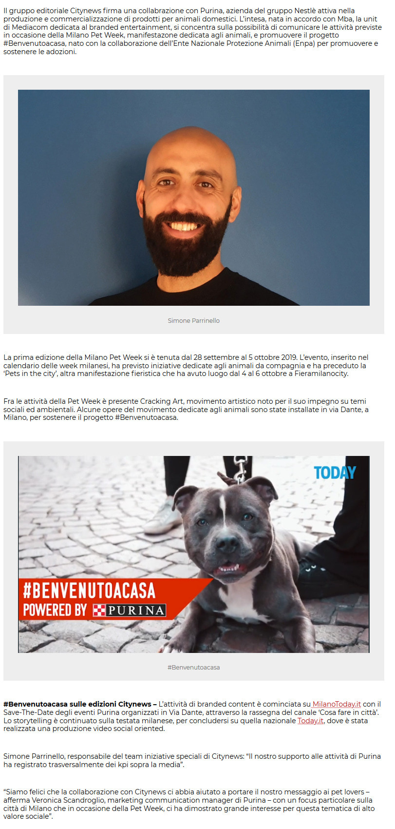 Citynews e Purina insieme per la Milano Pet Week - PrimaOnline, 26 novembre 2019-2
