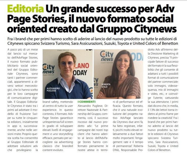 Un grande successo per Adv Page Stories, il formato social oriented creato da Citynews - DailyNet, 16 maggio 2019-2