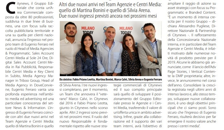 Citynews Eugenio Ferraro è nominato nuovo Head of Media Agencies & Programmatic  -DailyMedia.it, 11 giugno 2019-2