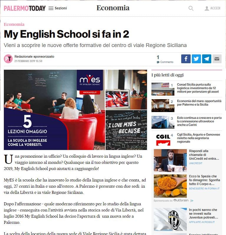 Pubbliredazionale - PalermoToday - Myes School-2