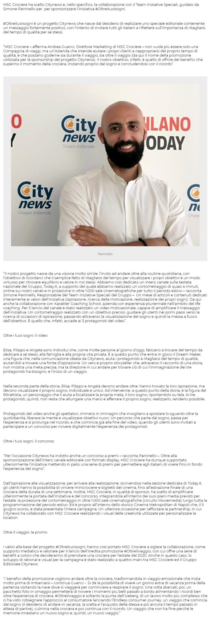 MSC Crociere sceglieCitynews per sponsorizzare il progetto #Oltreituoisogni -  Primaonline, 9 luglio 2019-2