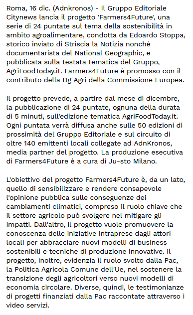 Sostenibilità Citynews lancia Farmers4Future su AgriFoodToday.it - Libero Quotidiano.it 1-2
