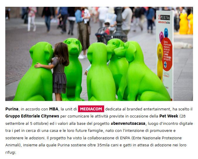 Citynews al fianco di Purina e MediaCom nella prima edizione della Milano Pet Week - YouMark, 26 novembre 2019-2