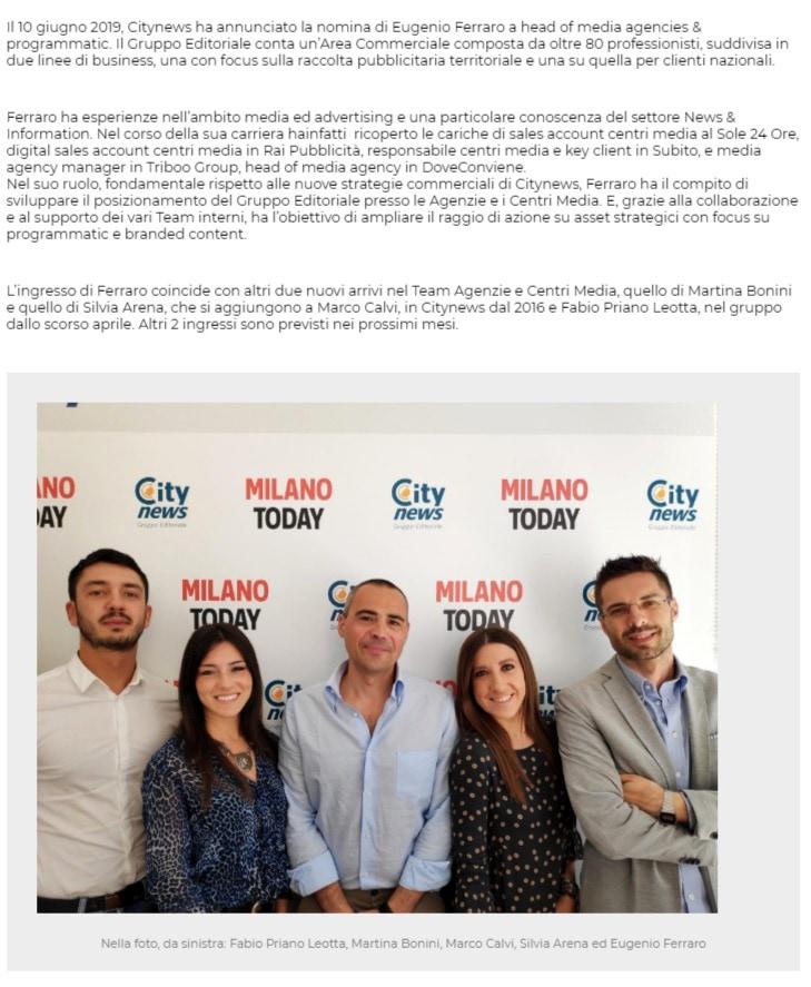 Eugenio Ferraro, Head of Media Agencies & Programmatic di Citynews - PrimaOnline.it-2