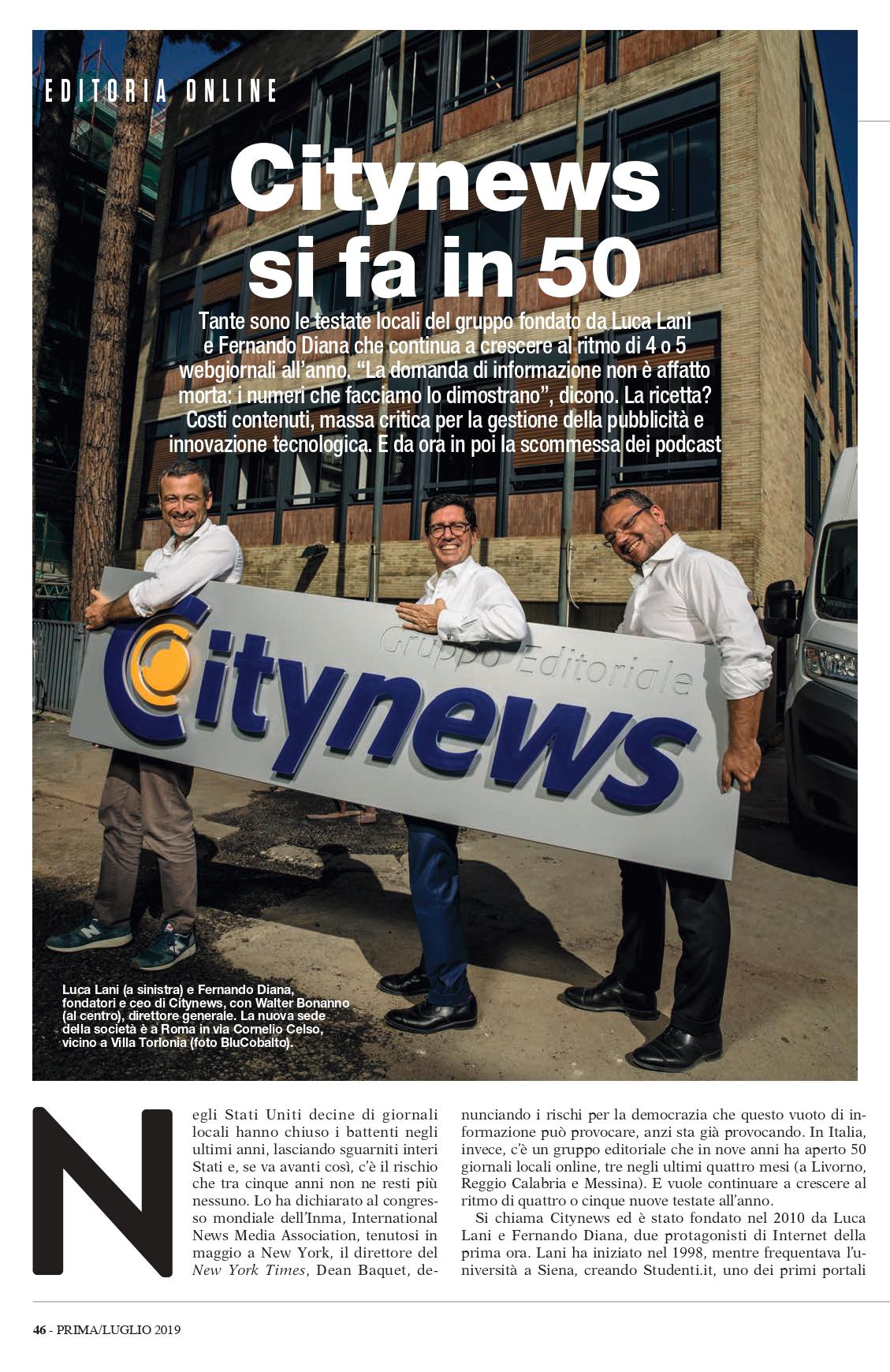 Citynews si fa in 50 - Prima Comunicazione, Luglio 2019 1-2