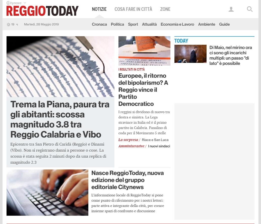 ReggioToday.it - Homepage - 28 maggio 2019