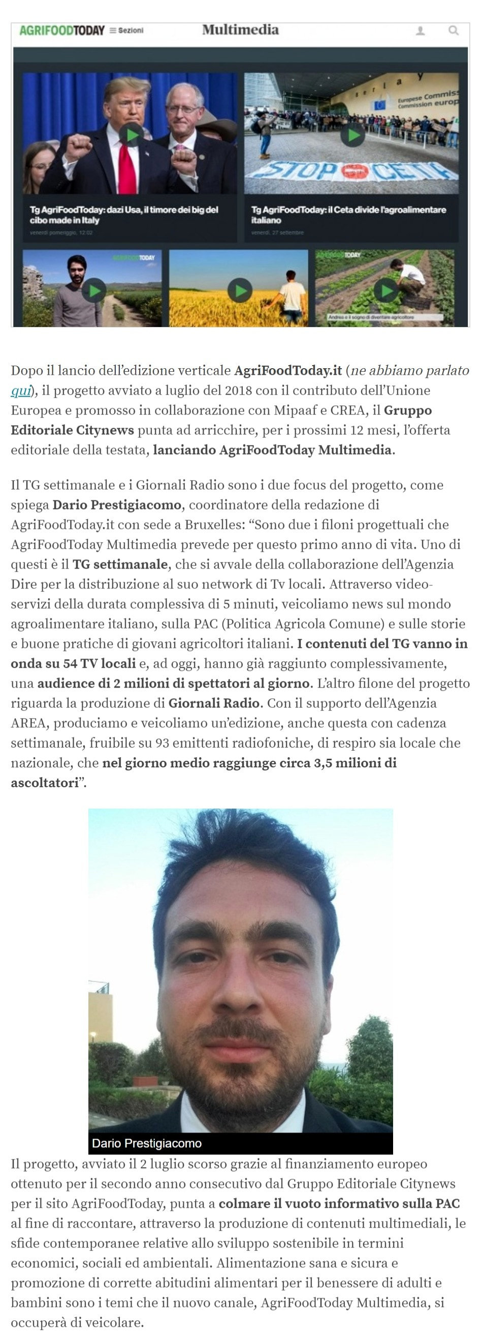 Citynews arricchisce AgriFoodToday con il lancio di AgriFoodToday Multimedia - Engage, 7 ottobre 2019 (1)-2