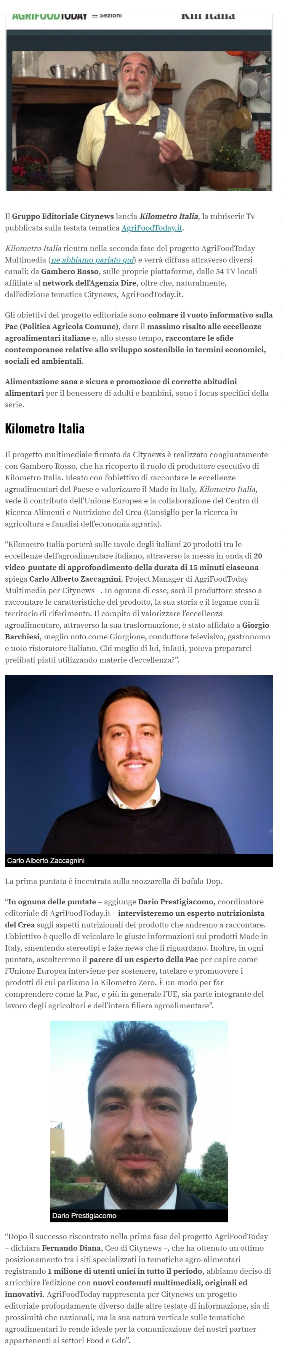 Citynews su AgriFoodToday una miniserie dedicata all'agroalimentare Made In Italy - Engage,it, 11 dicembre 2019-2