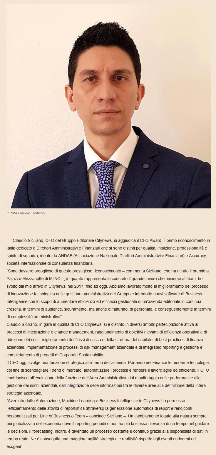 Claudio Siciliano sul podio del CFO Award 2019 - ildenaro.it, 14 novembre 2019-2
