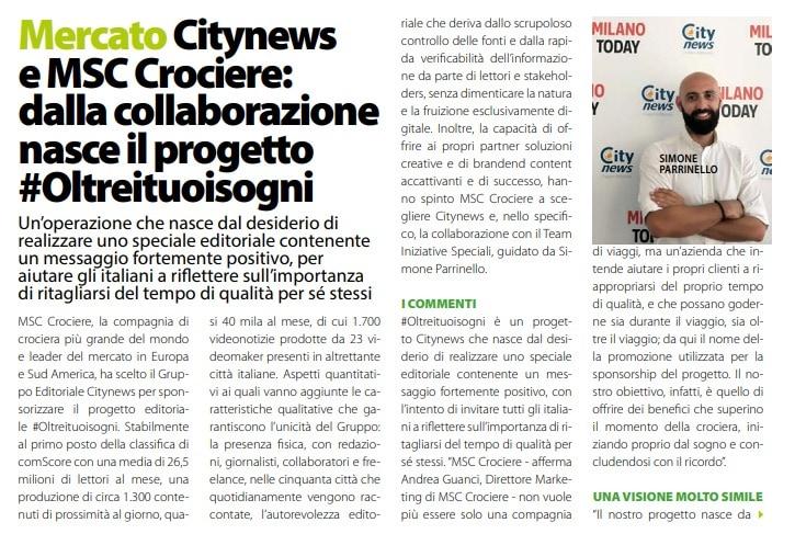 Citynews e MSC Crociere dalla collaborazione nasce il progetto #Oltreituoisogni 1 - DailyNet, 11 luglio 2019-2