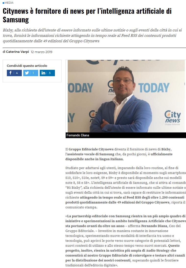 Citynews è fornitore di news per l'intelligenza artificiale di Samsung - Engage, 12 marzo 2019-2