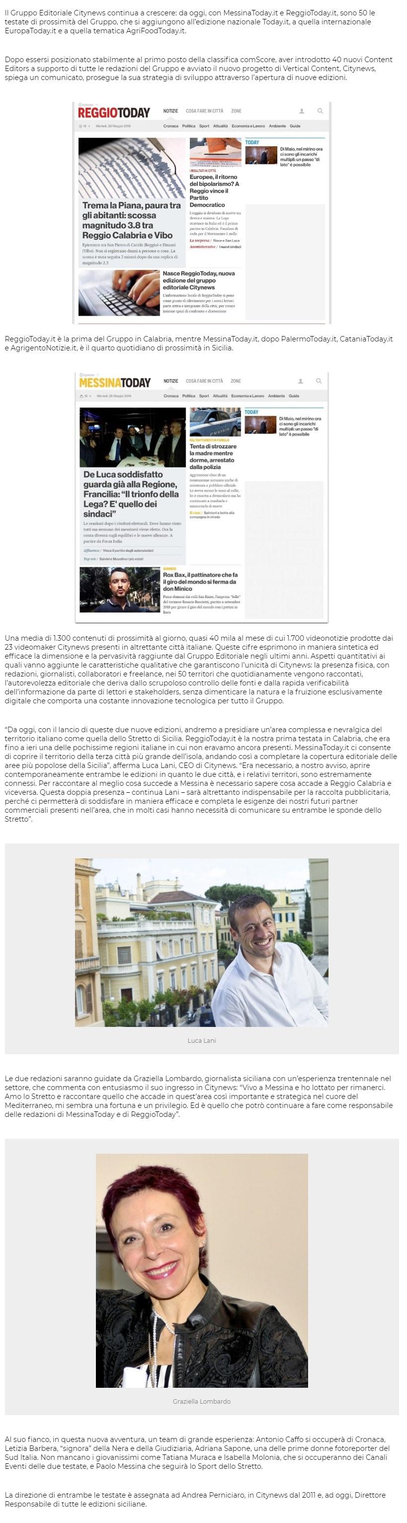 Citynews vara MessinaToday.it e ReggioToday.it. Le testate locali del gruppo diventano cinquanta - PrimaOnline, 28 maggio 2019-2