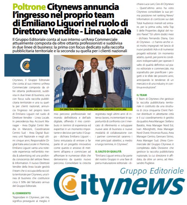 Citynews annuncia l'ingresso nel proprio team di Emiliano Liguori nel ruolo di Direttore Vendite - DailyNet, 29 ottobre 2019-2