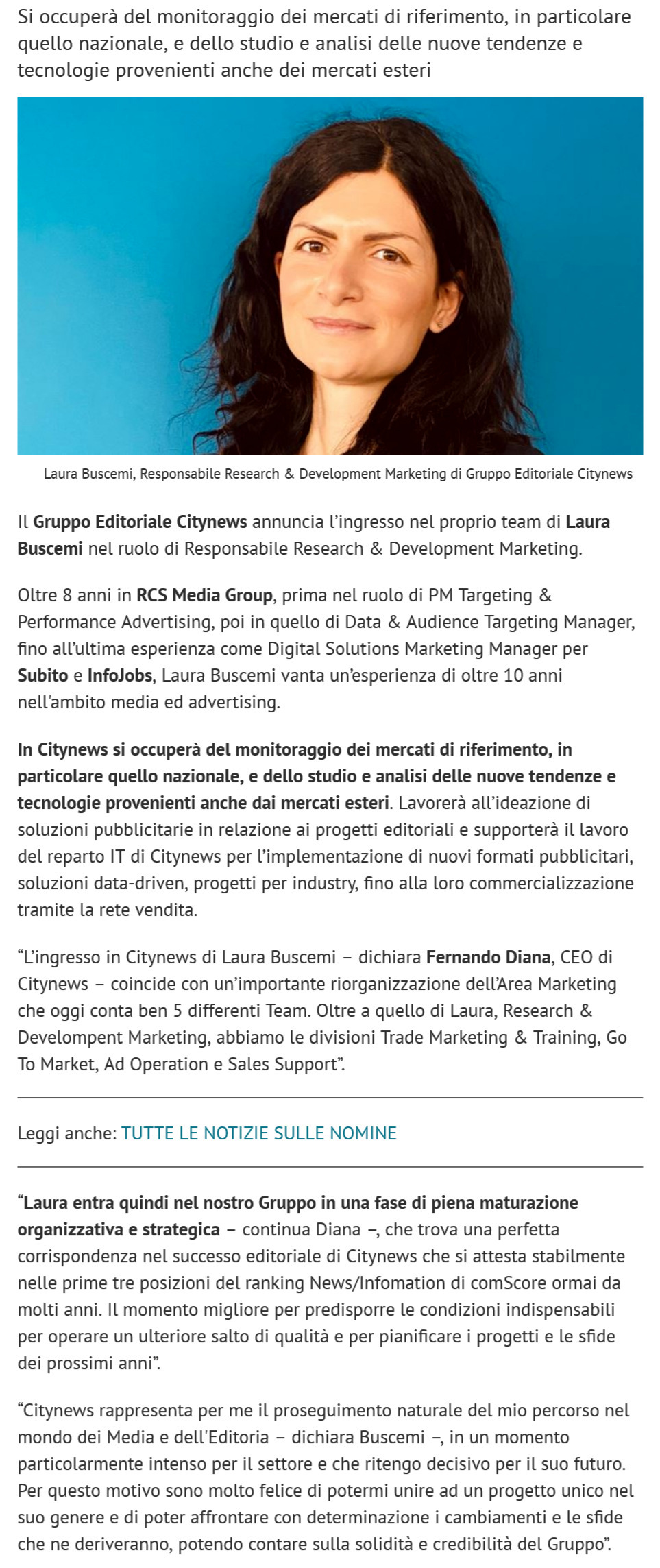 Citynews, Laura Buscemi è la nuova Responsabile Research & Development - Engage, 3 marzo 2021-2