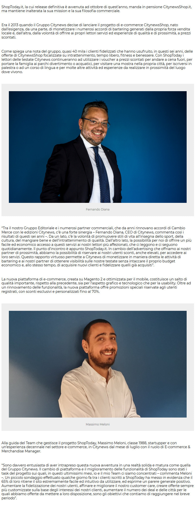 Citynews arruola Massimo Meloni come responsabile E-commerce e rilancia ShopToday.it - PrimaOnline, 6 novembre 2019-2