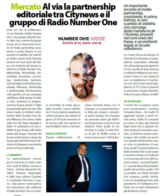 Al via la partnership editoriale tra Citynews e il gruppo di Radio Number One - DailyNet, 12 novembre 2019-2