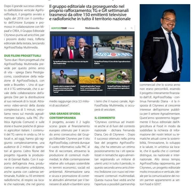 Citynews punta ad arricchire l'offerta della testata e ora lancia la novità Agrifoodtoday Multimedia - DailyNet, 8 ottobre 2019-2