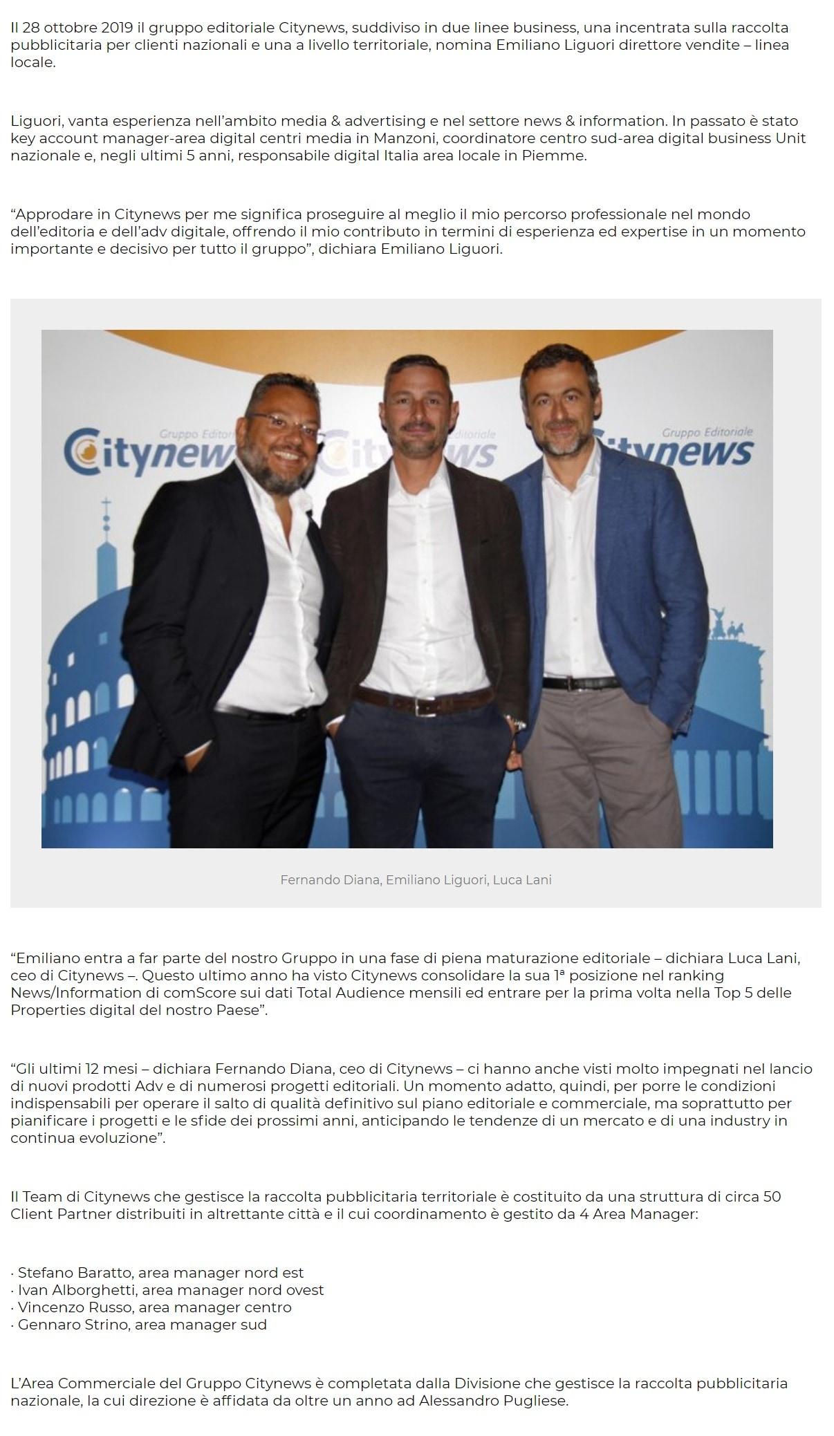 Emiliano Liguori, direttore vendite – linea locale di Citynews - PrimaOnline, 29 ottobre 2019-2