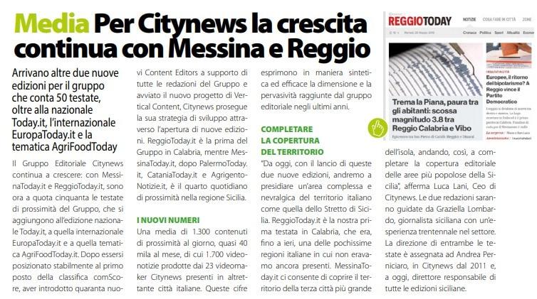 Per Citynews la crescita continua con Messina e Reggio  -  DailyNet, 29 maggio 2019-2