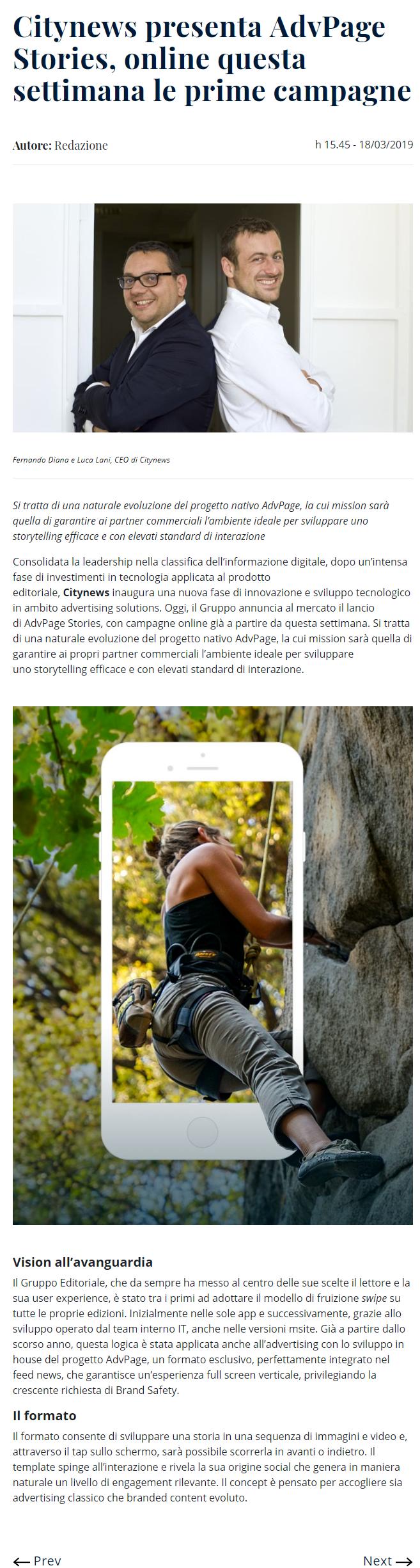 Citynews presenta AdvPage Stories, online questa settimana le prime campagne - DailyOnline - 18 marzo 2019