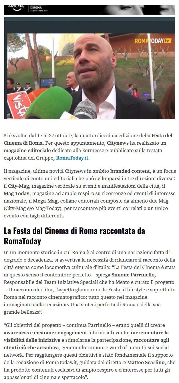 Citynews racconta la Festa del Cinema di Roma con un Magazine Editoriale su RomaToday - Engage, 31 ottobre 2019 -1-2