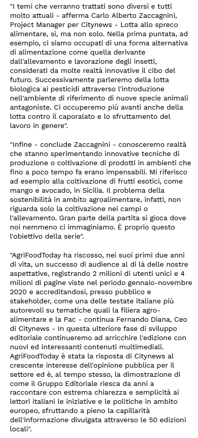 Sostenibilità Citynews lancia Farmers4Future su AgriFoodToday.it - Libero Quotidiano.it 2-2