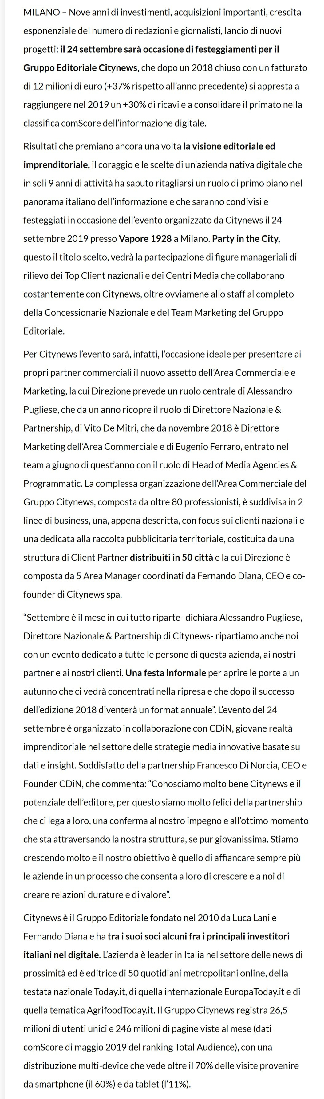 Citynews cresce e il 24 festeggia a Milano nove anni - Dire.it, 20 settembre 2019-2