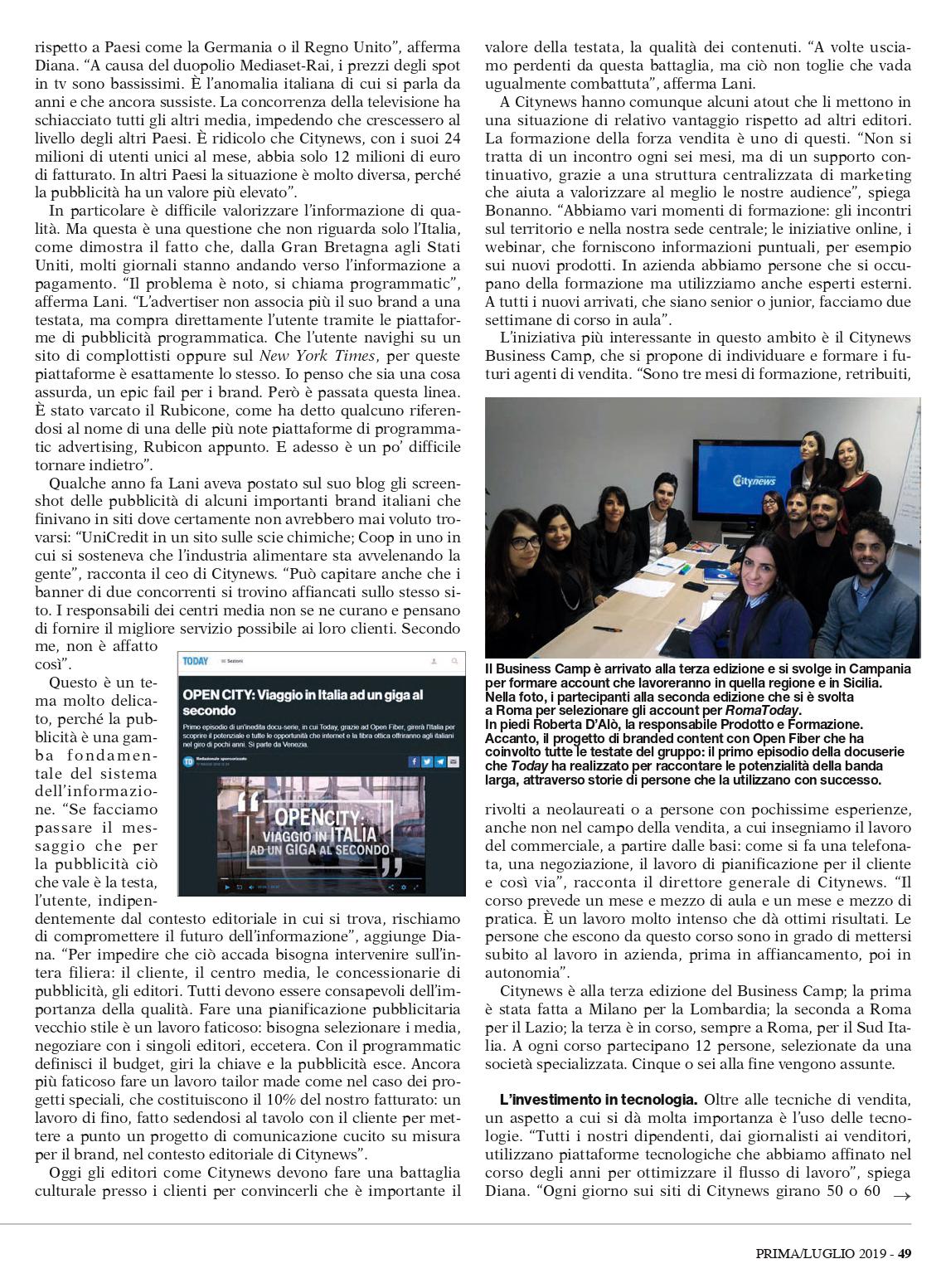 Citynews si fa in 50 - Prima Comunicazione, Luglio 2019 4-2