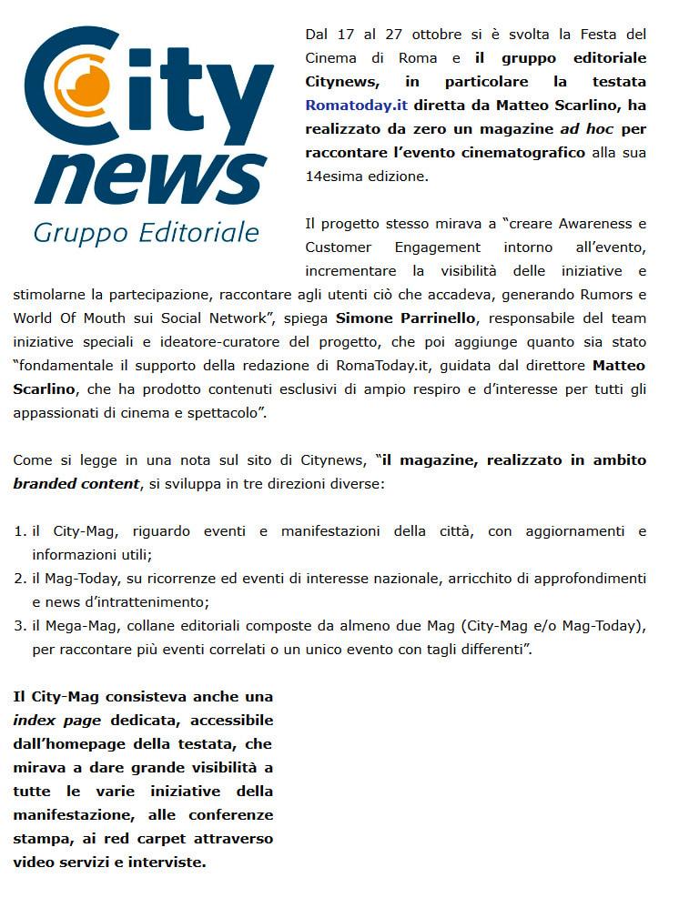 Citynews realizza un magazine per la festa del cinema di Roma - USPI, 6 novembre 2019-2-2