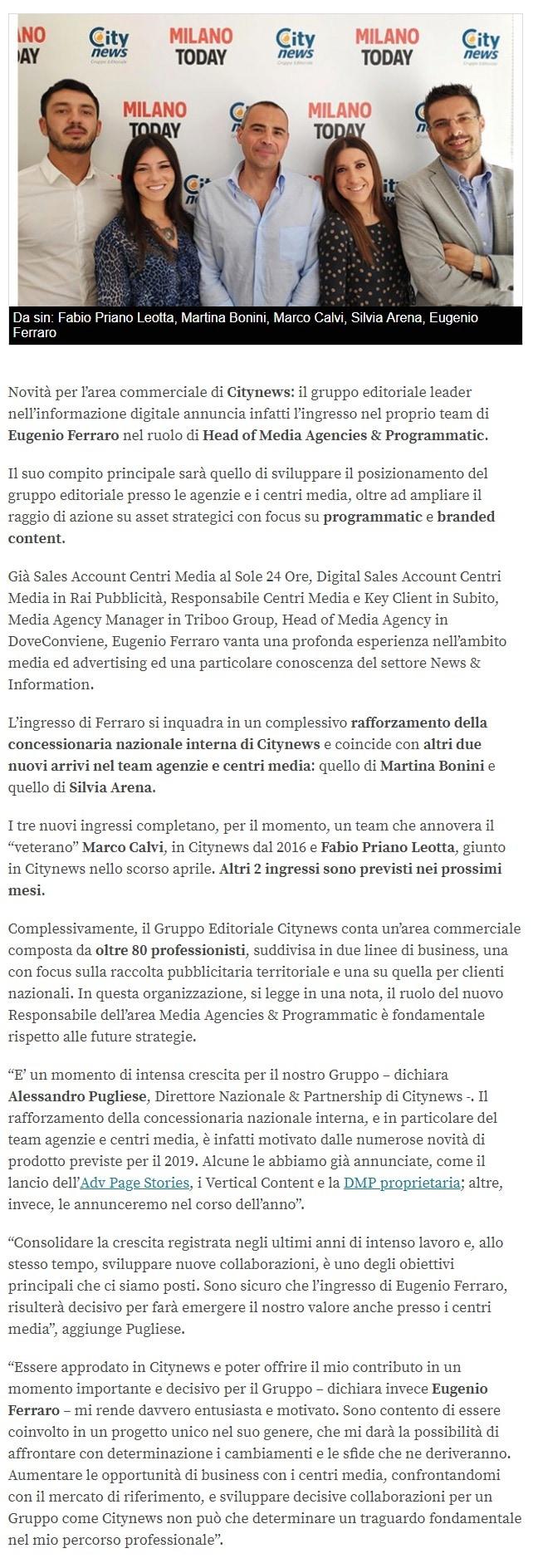 Citynews, Eugenio Ferraro è il nuovo Head of Media Agencies & Programmatic -Engage.it, 10 giugno 2019-3