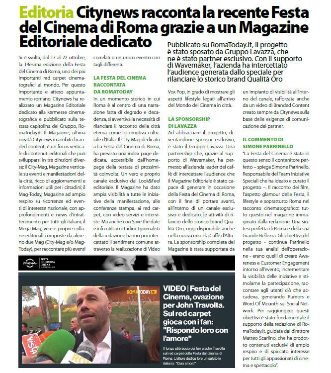 Citynews racconta la recente Festa del Cinema di Roma grazie a un Magazine Editoriale dedicato - DailyNet, 31 ottobre 2019-2