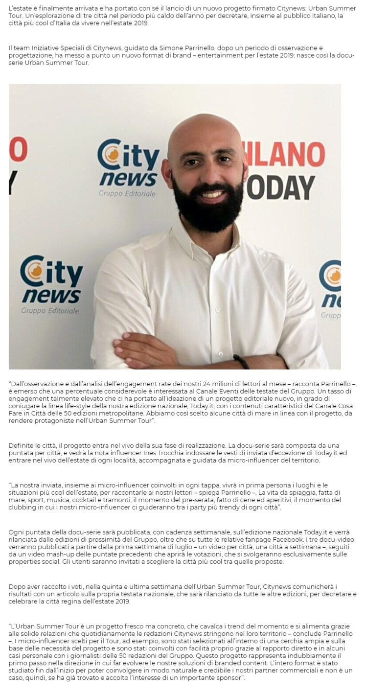 Urban Summer Tour, Citynews incorona la città ideale per vivere l'estate 2019 - PrimaOnline, 4 luglio 2019-2