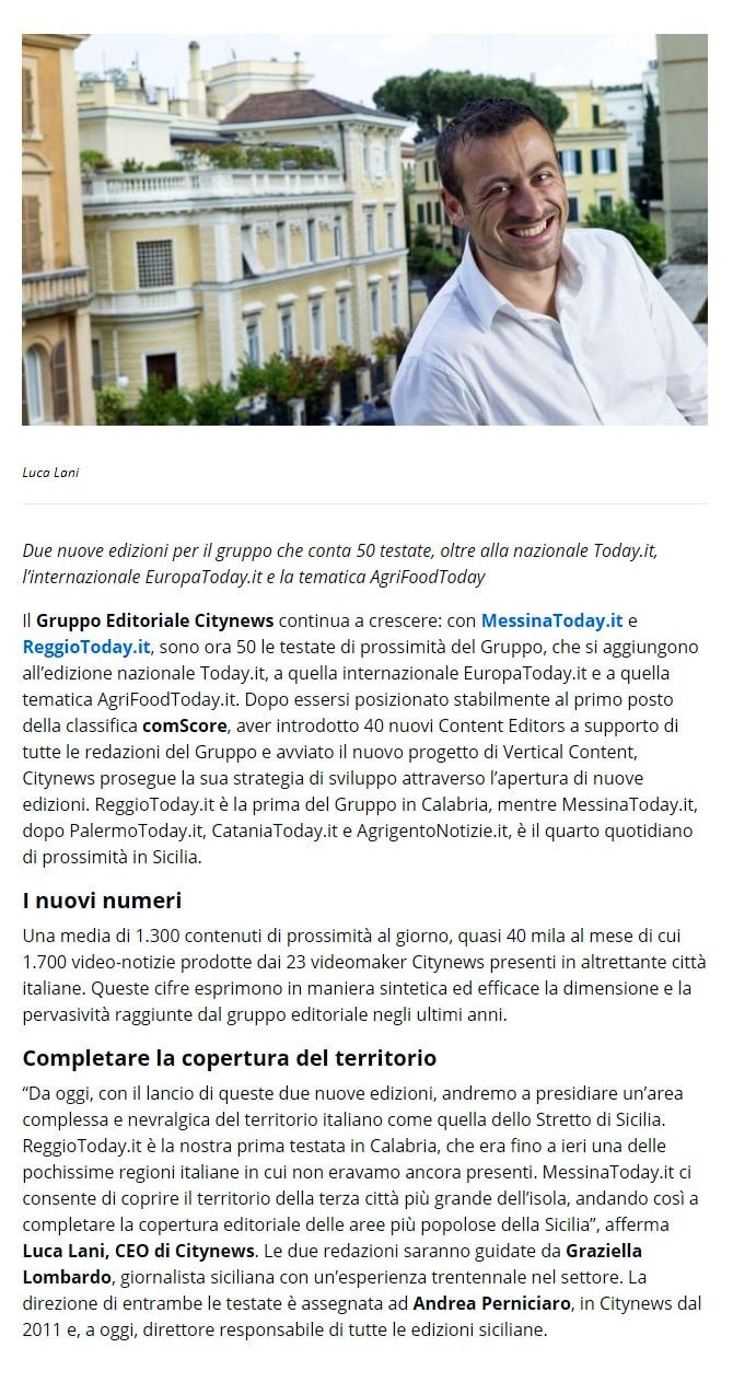 Citynews, la crescita continua con Messina e Reggio - DailyOnline, 28 maggio 2019-2