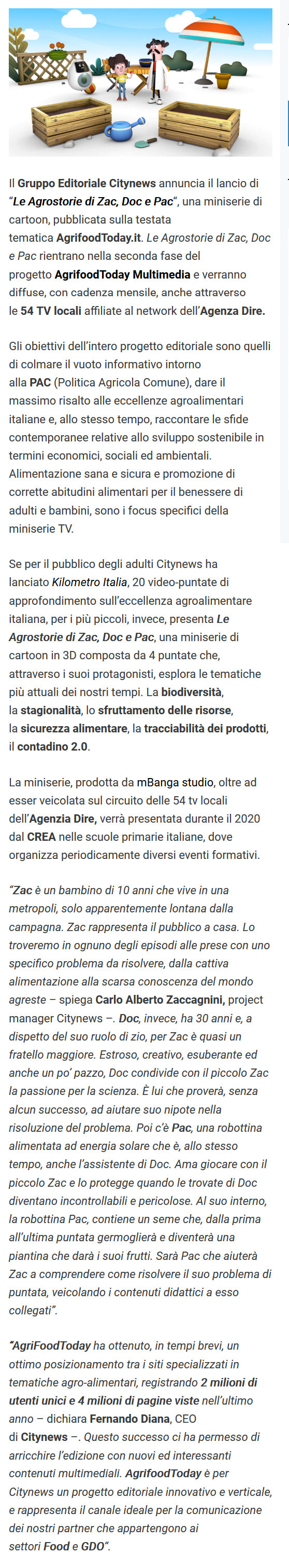 CITYNEWS ANNUNCIA LE AGROSTORIE DI ZAC, DOC E PAC, LA MINISERIE CARTOON ONLINE SU AGRIFOODTODAY.IT - Food Affairs, 28 gennaio 2020-2