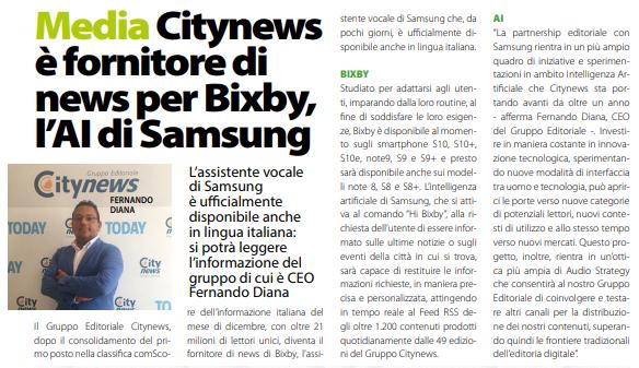 Citynews è fornitore di news per Bixby, l'AI di Samsung - DailyNet, 13 marzo 2019-2