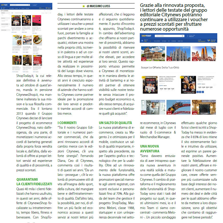 ShopToday.it manda in pensioneCitynewsShop.it, inalterate la mission e la filosofia commerciale - DailyNet, 6 novembre 2019-2