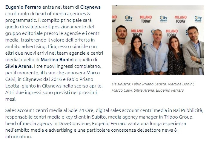 Citynews, Eugenio Ferraro è il nuovo head of media agencies & programmatic - Bimag.it-2
