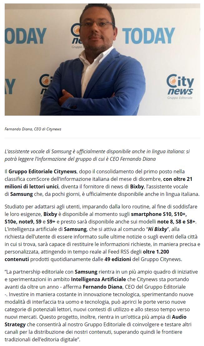 Citynews è fornitore di news per Bixby, l'AI di Samsung - DailyOnline, 12 marzo 2019-2