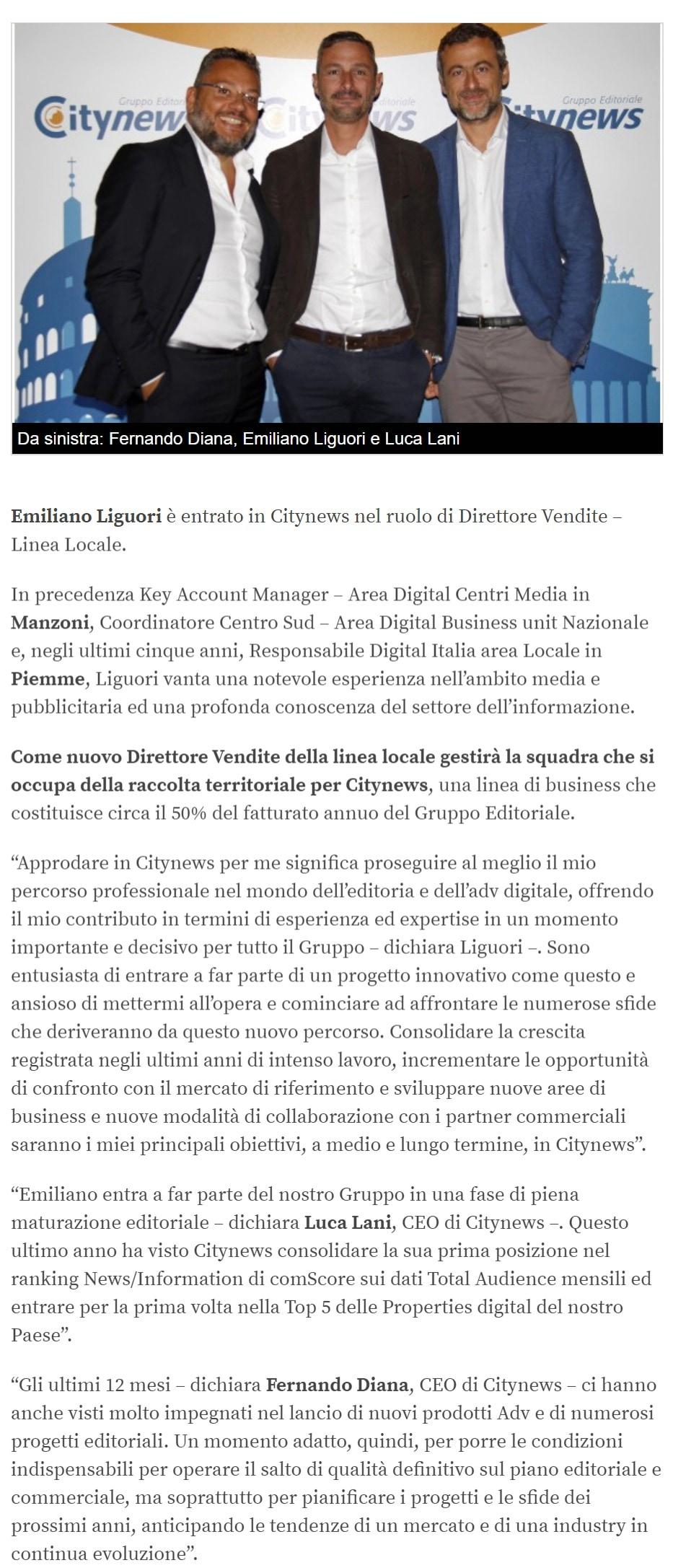 Emiliano Liguori entra in Citynews nel ruolo di Direttore Vendite – Linea Locale - Engage, 28 ottobre 2019-2