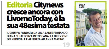 DailyNet, 21 febbraio 2019 - Citynews cresce ancora con LivornoToday, è la sua 48ª testata - copertina