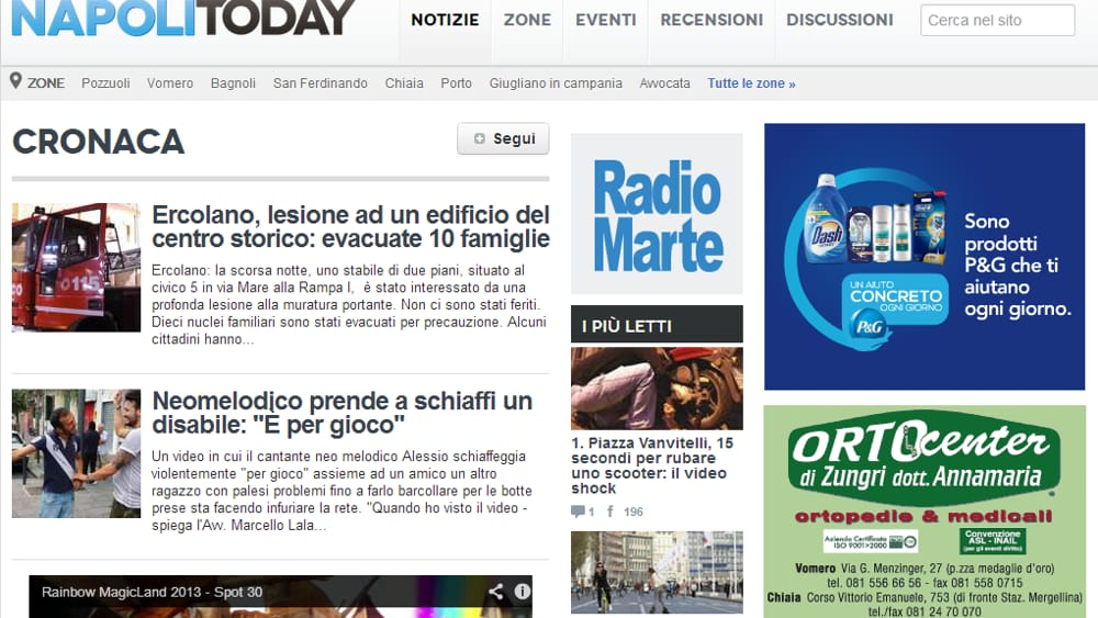 NapoliToday e Radio Marte media partner in Campania